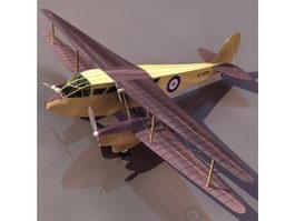 DH.89 Dragon Rapide biplane passenger airliner 3d model preview