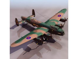 Avro Lancaster heavy bomber aircraft 3d model preview
