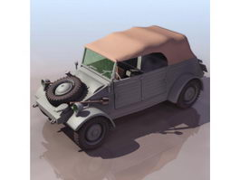 WWII German light military vehicle 3d model preview