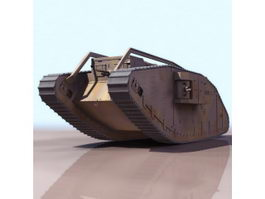 WW1 female tank 3d model preview