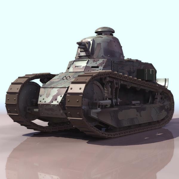 French Renault FT light tank 3d rendering