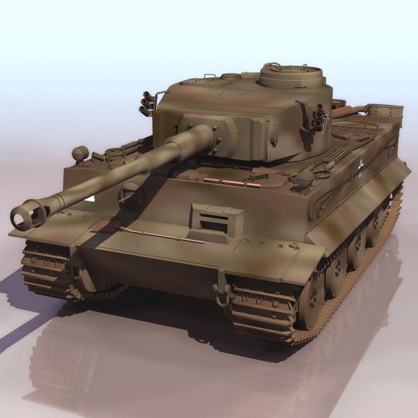 German Tiger heavy tank 3d rendering