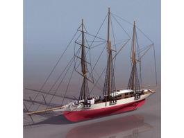 Vintage sailing ship 3d model preview