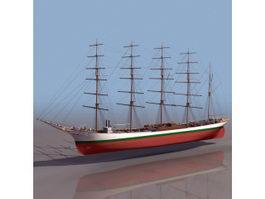 American clipper ship 3d model preview