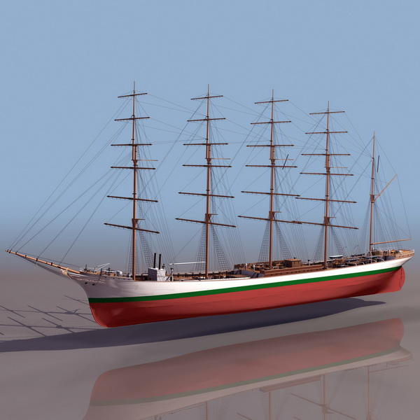 American clipper ship 3d rendering