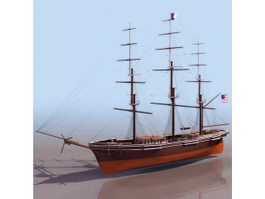 America flying cloud clipper ship 3d model preview