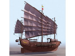 Ancient Chinese sailing junk ship 3d model preview