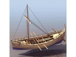 Ancient Greek trading vessel merchant ship 3d model preview