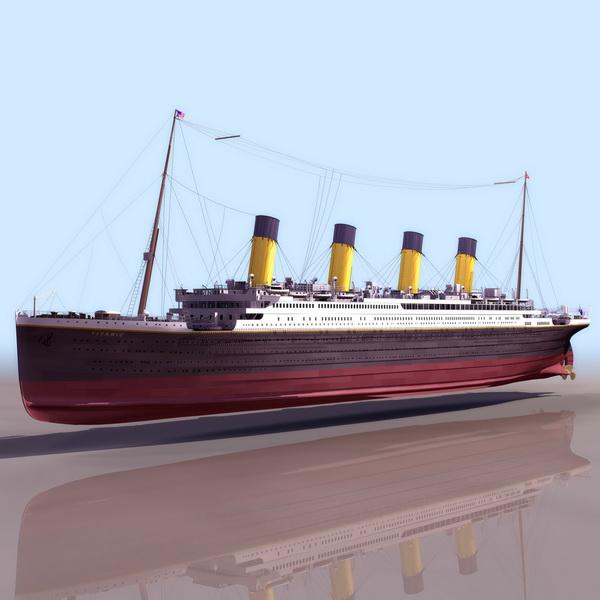 Titanic passenger liner 3d rendering