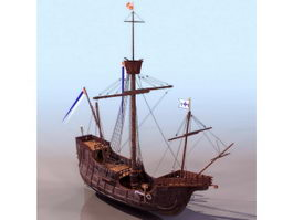 1500s Spain three-masted sailing ship 3d model preview