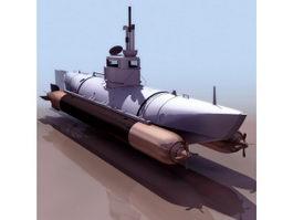Biber German midget submarine 3d model preview