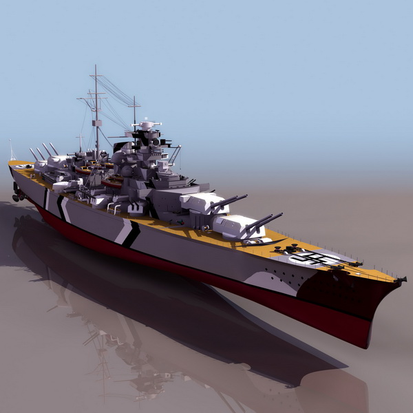 German Bismarck battleship 3d rendering