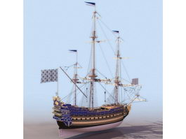 1670s Soleil-Royal French warship 3d model preview