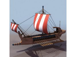17th century Greek warship 3d model preview