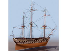 1784 French ship Superbe 3d model preview