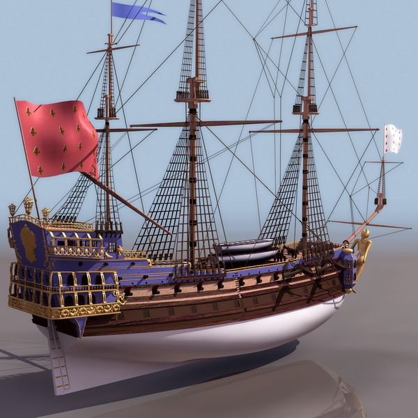 1795 French Navy frigate Sirene sailing ship 3d rendering