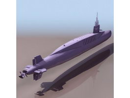 French Navy Redoutable-class submarine 3d model preview