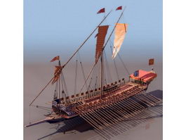 16th century French Navy galley ship 3d preview