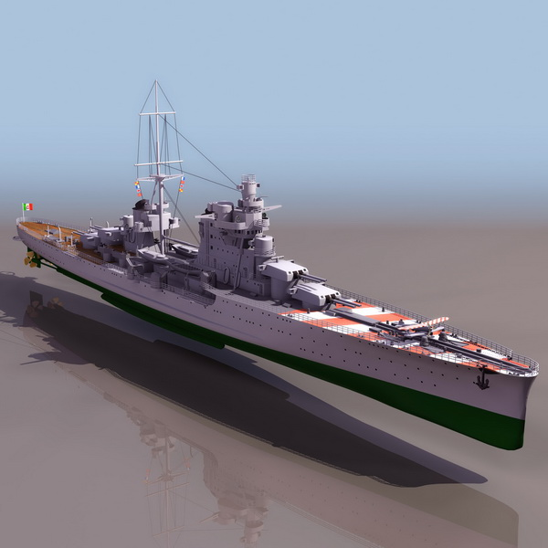 WWII Italian cruiser Pola 3d rendering