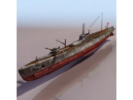 WWII Japanese submarine I-19 3d preview