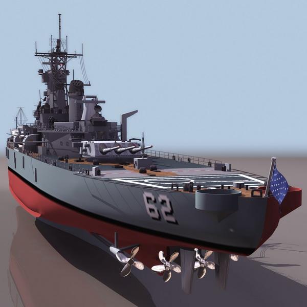 USS New Jersey battleship 3d rendering