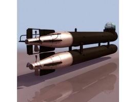 German manned torpedo Neger 3d model preview