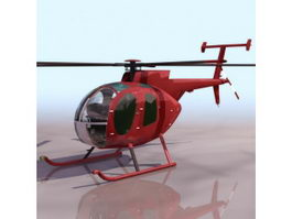 MD 500D light utility helicopter 3d model preview