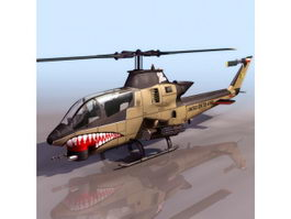 Bell AH-1 HueyCobra attack helicopter 3d model preview