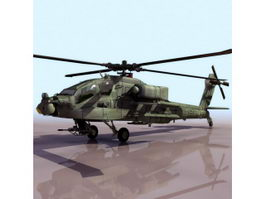 Boeing AH-64 Apache attack helicopter 3d model preview