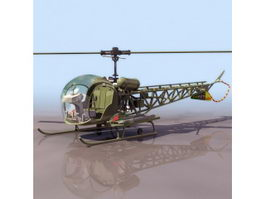 Bell H-13 Sioux observation helicopter 3d model preview