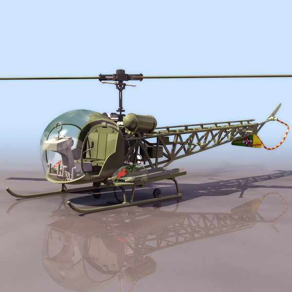 Bell H-13 Sioux observation helicopter 3d rendering