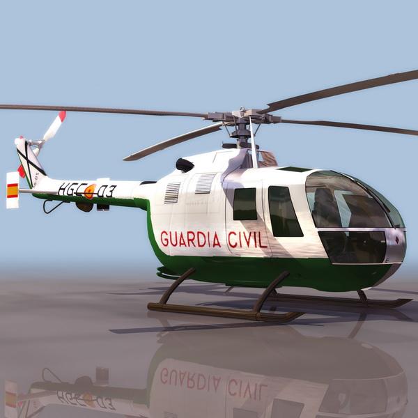 MBB Bo 105 light utility helicopter 3d rendering
