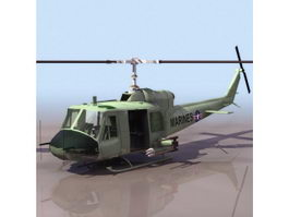 Bell UH-1D transport helicopter 3d model preview