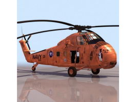 Sikorsky H-34 military helicopter 3d model preview
