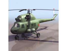 Mil Mi-2 armored helicopter 3d model preview