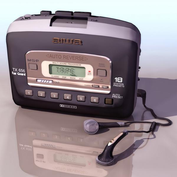 Aiwa Walkman audio cassette player 3d rendering