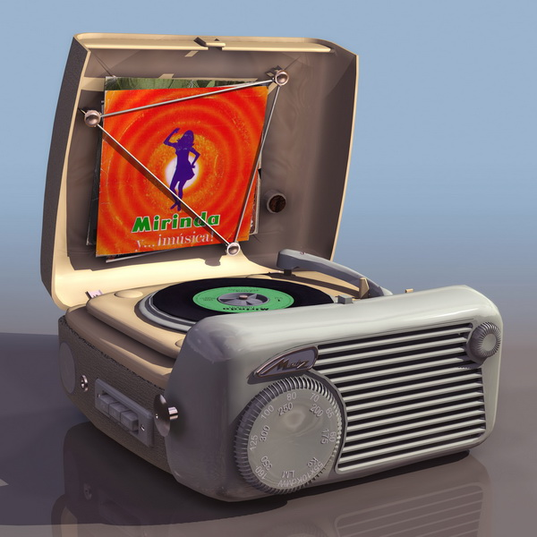 1930s portable wind-up gramophone 3d rendering