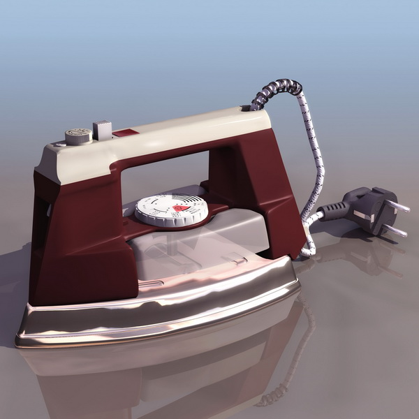 Modern electric clothes iron 3d rendering