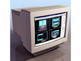 Computer CRT monitor 3d model preview