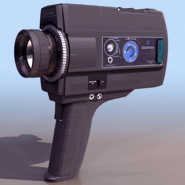 Super 8 film camera 3d rendering