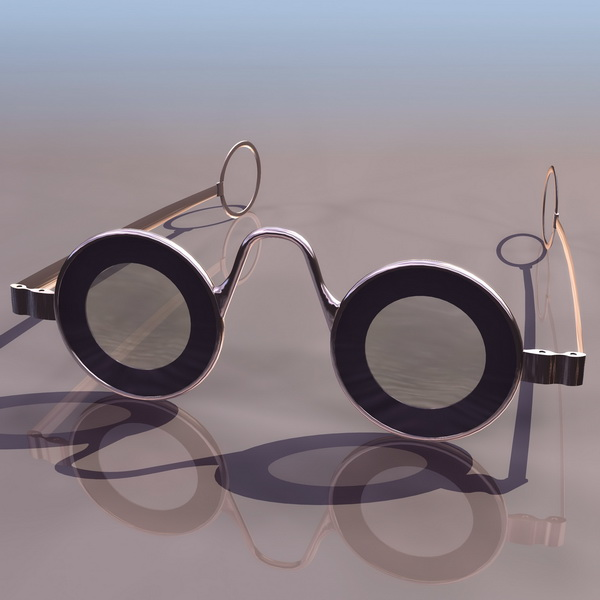 Old-fashioned glasses 3d rendering