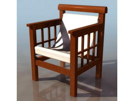 Wood leisure chair 3d preview