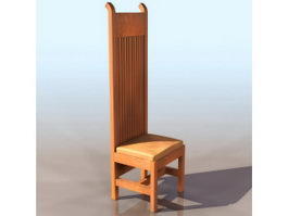 High-back dining chair 3d model preview