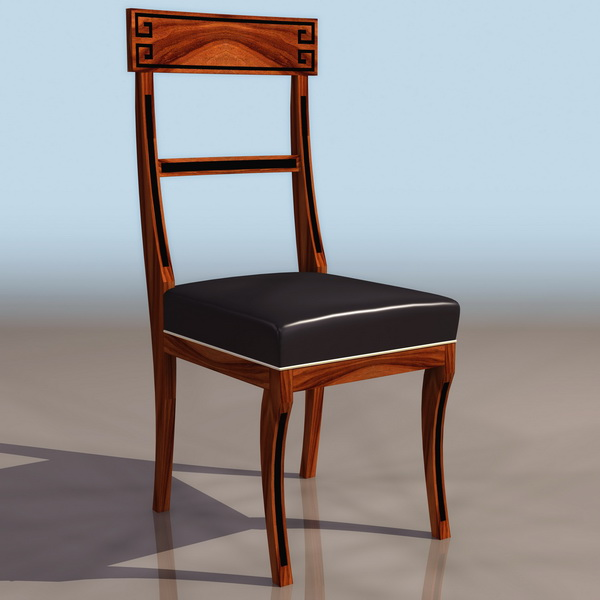 Luxurious wood dining chair 3d rendering
