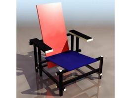 Gerrit Rietveld red and blue chair 3d model preview