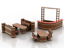 Bars and restaurants furniture sets 3d preview