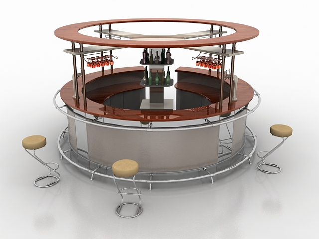 Commercial bar counter 3d rendering