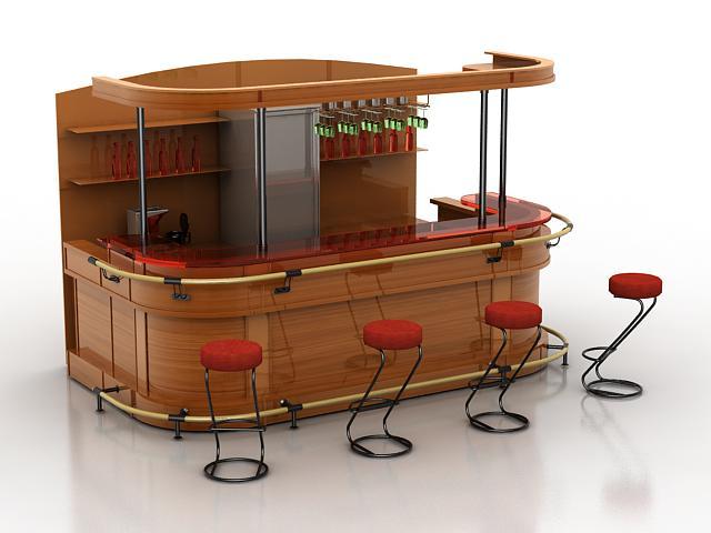 Restaurant bar counter 3d rendering