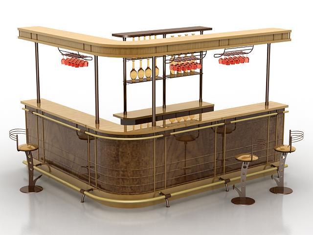 L shape commercial bar counter 3d rendering