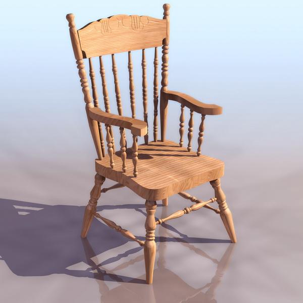 Solid wooden windsor chair 3d rendering